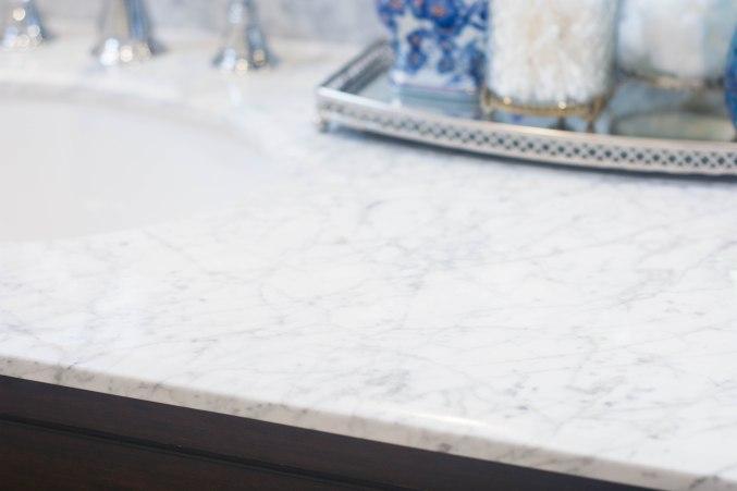 Carrera marble countertop vintage retro widespread sink faucet bathroom renovation remodel