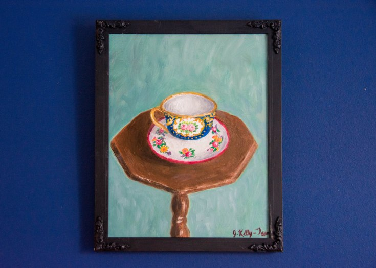 DIY framing canvas oil painting tea cup after