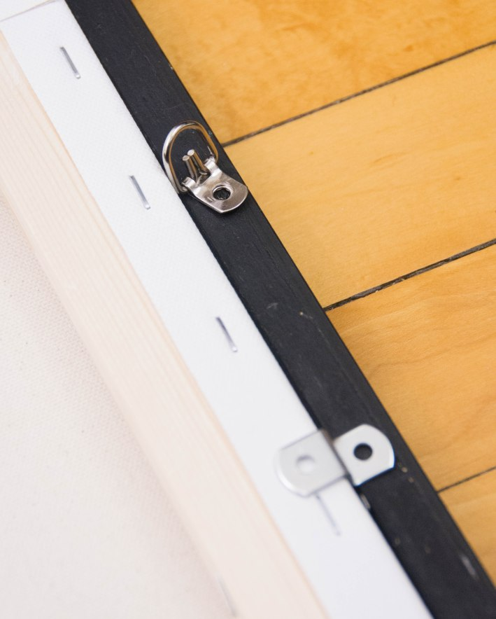 DIY framing canvas painting position offset clips and ring hangers