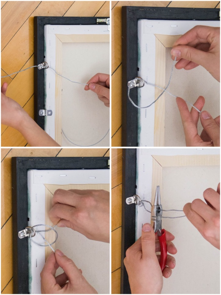 DIY framing canvas painting tie hanging wire