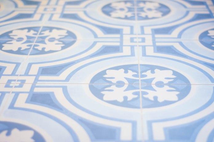 porcelain blue mosaic British Portuguese floor tile bathroom renovation remodel
