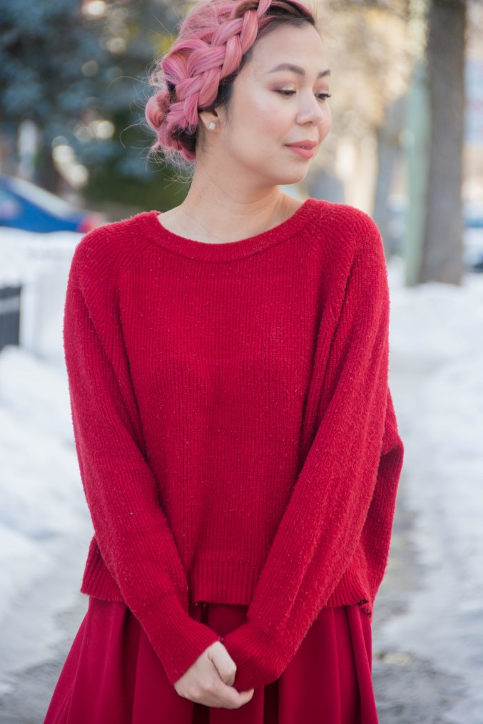 Valentine's Day all red outfit fashion circle midi skirt sweater burgundy socks black wedges pink hair 3