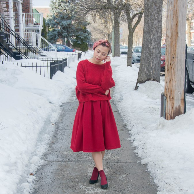 Valentine's Day all red outfit fashion circle midi skirt sweater burgundy socks black wedges pink hair 5