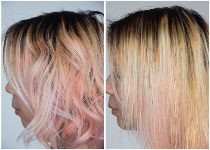 before and after L'Oreal Feria Absolute Platinum Advanced Lightening System DIY bleach hair at home dye hair pink Montreal lifestyle beauty fashion blog blogger 1