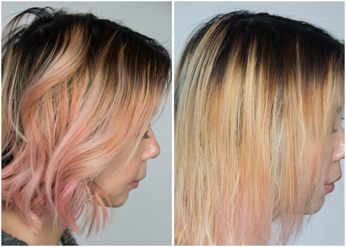 before and after L'Oreal Feria Absolute Platinum Advanced Lightening System DIY bleach hair at home dye hair pink Montreal lifestyle beauty fashion blog blogger 2