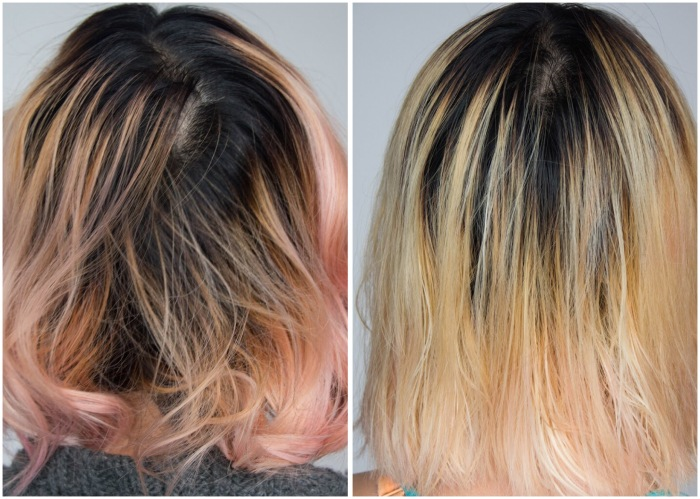 before and after L'Oreal Feria Absolute Platinum Advanced Lightening System DIY bleach hair at home dye hair pink Montreal lifestyle beauty fashion blog blogger 3