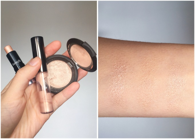 Montreal beauty fashion lifestyle blog spring favourites Becca Shimmering Skin Perfector Spotlights Pressed Opal Benefit Watt's Up Cream-to-Powder Highlighter swatch