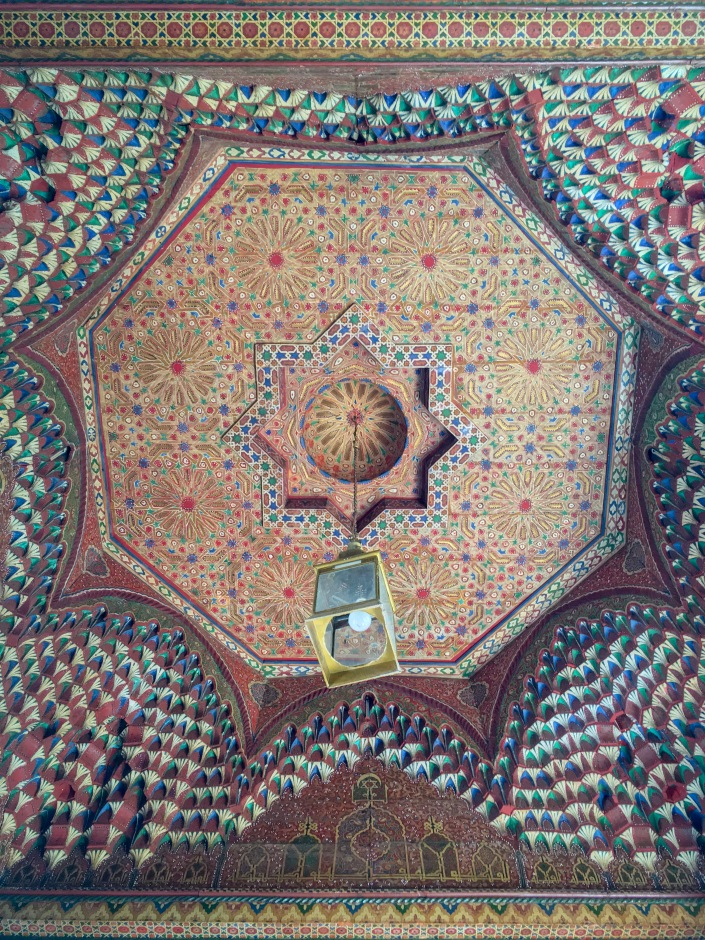 Morrish tiled decorative ceiling Morocco travel Montreal lifestyle fashion beauty blog