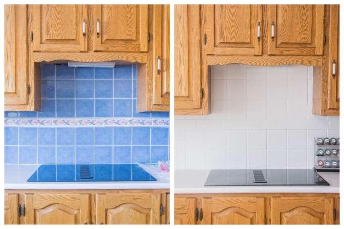 Montreal lifestyle fashion beauty blog kitchen backsplash DIY painting tile before after 1